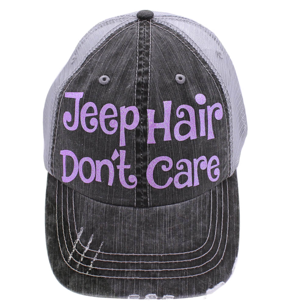 Jeep Hair Don't Care Distressed Grey Purple Trucker Hat