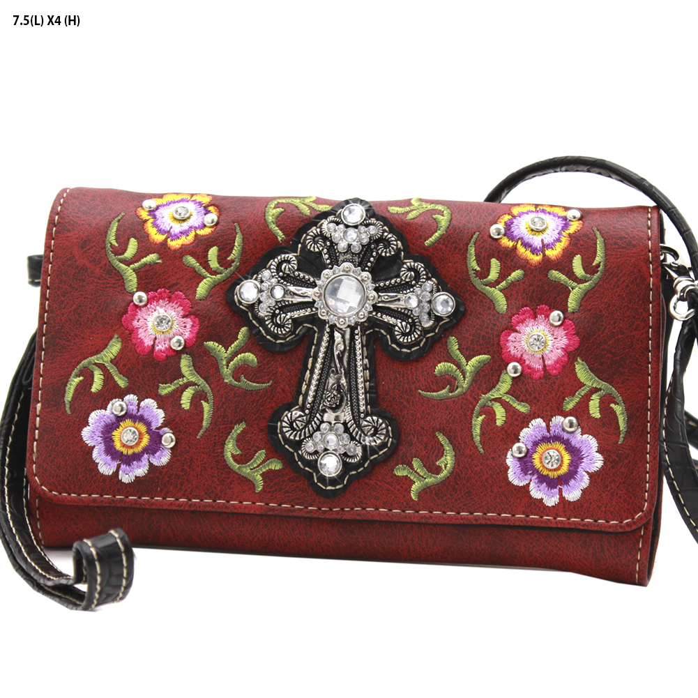 Western Cross Red Roses 3 in 1 Wristlet Crossbody Wallet