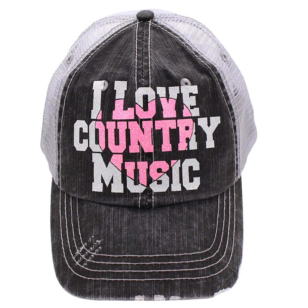 I Love Country Music Grey-Pink Heart Trucker Style Hat